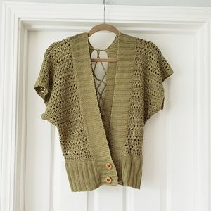 Vintage Green Knit Short Sleeve Cardigan